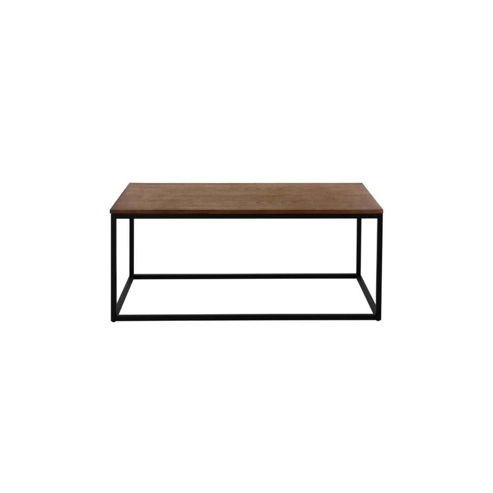 StyleWell Donnelly Rectangular Black Metal Coffee Table with Haze Wood Finish