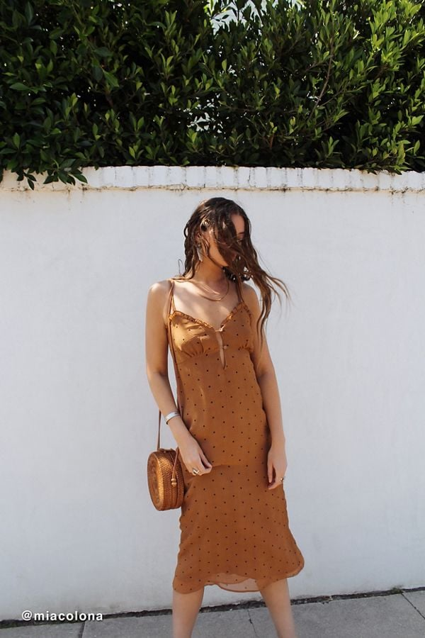 UO Sheer Button-Front Slip Dress