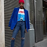 Swap out some of your favorite essentials for more colorful versions of the same, like a blazer, sneakers, and even a Winter beanie.