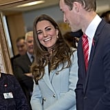 Expectant Kate flashed an adoring look at Will during a visit to the Pembroke Refinery in Wales in November.