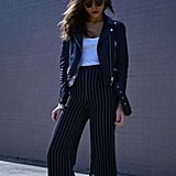 With a Leather Jacket and Flared Pinstripe Pants