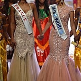 Miss World 2013 winner Megan Young held hands with the runner-up, Miss France.