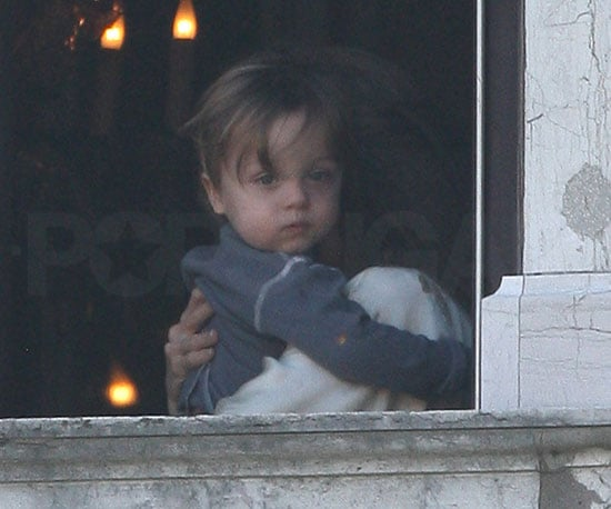 Slide Photo of Knox Jolie-Pitt and Angelina Jolie Early Morning in Venice