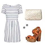 Strike a cool balance between nautical prep and tribal prints — we think this blue-striped dress is perfect for a day spent outdoors, but to dress it up for your holiday weekend festivities, don pretty stud earrings, a bold wedge, and a sweet clutch. Get the Look:   Mango Navy Doll Dress ($60)  Forever 21 Sparkling Circle Earrings ($2)  LOFT Geometric Straw Pouch ($20)  Ralph Lauren Collection Alannah Sandals ($297)