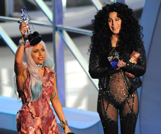 In 2010, Lady Gaga, in her infamous meat dress, accepted one of her many awards of the night from Cher.