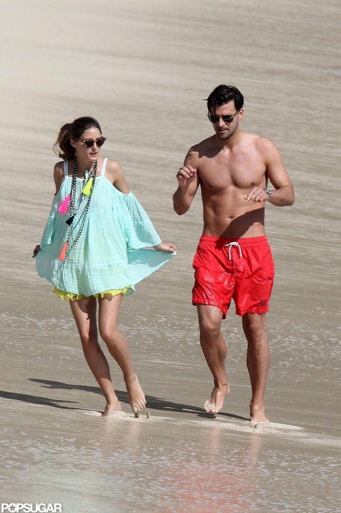 Olivia Palermo and Johannes Huebl strolled on the beach.
