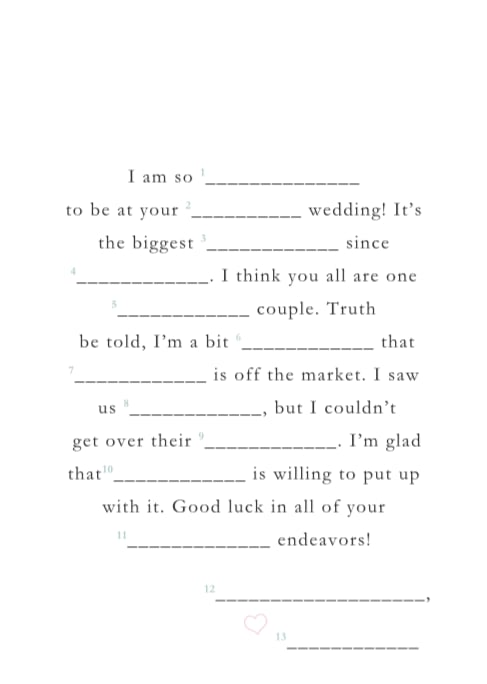 Free Printable Wedding Mad Libs | POPSUGAR Smart Living