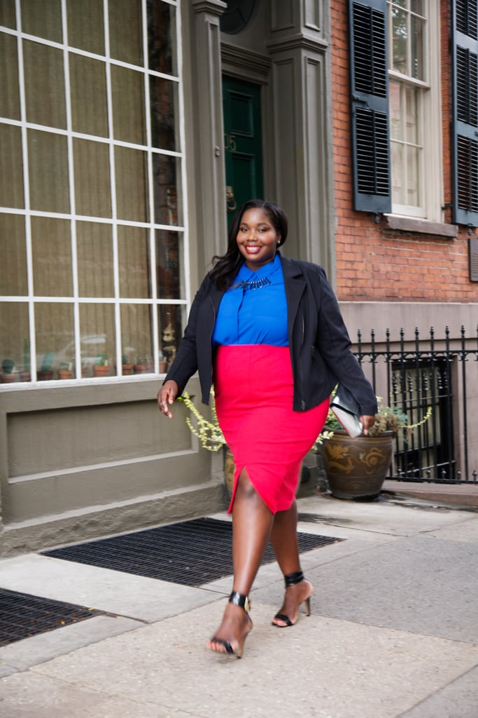 "This high-waisted pencil skirt and cobalt blouse are a perfect combo. The tulip-style slit adds a modern touch while still keeping the look appropriate for work.  ""This new breed of plus-size women wear whatever they want without any apologies."""