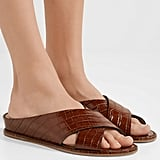 Gabriela Hearst Ellington Croc Effect Leather Wedge Sandals