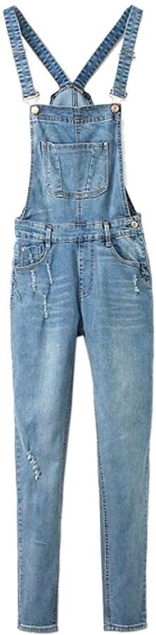 Choies Light Blue Pocket Ripped Denim Overalls ($48)