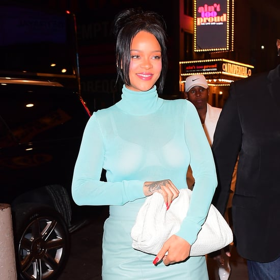 Rihanna Wearing Blue Strappy Heels and Turtleneck Dress