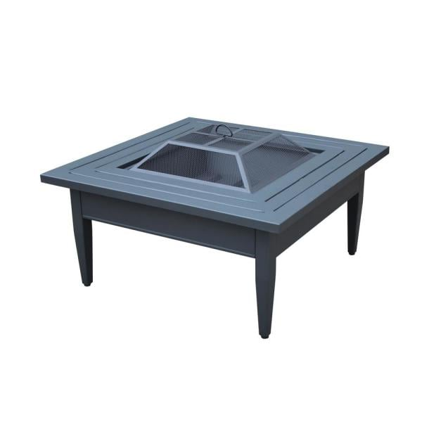 Hampton Bay Riley Square Steel Wood Burning Fire Pit Table