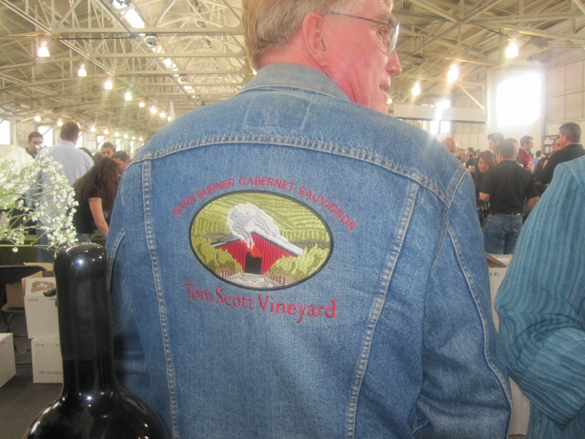 Winemaker Tom Scott is so passionate about his winery, it's patched onto his jean jacket.