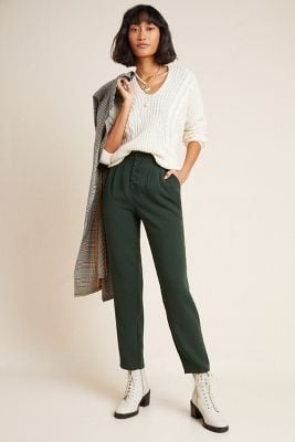 Sasha Button-Fly Tapered Trousers