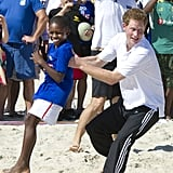 When He Displayed Some Unorthodox Tactics During a Game of Beach Rugby in Brazil.