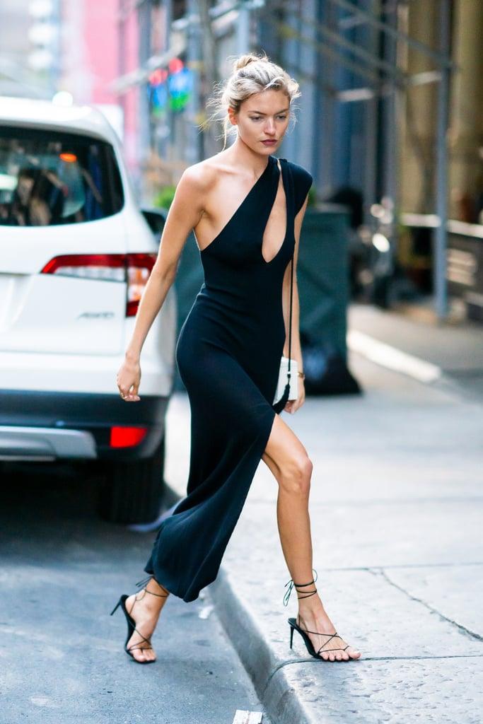 Wear a slinky dress with your sandals à la Martha Hunt.