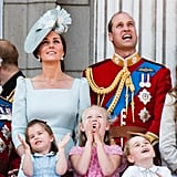 Kate Middleton, Prince William, Princess Charlotte, Prince George, and Savannah Phillips