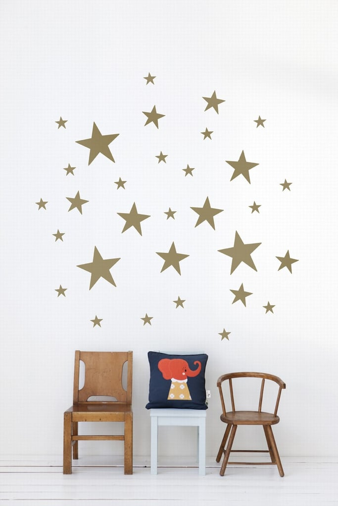 ferm living star wall stickers | silver and gold nursery items for