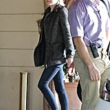 Emma Stone wore metallic brogues.