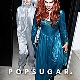 Joe Jonas and Sophie Turner as Sansa Stark From Game of Thrones and an Elephant
