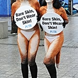 Dressed in elaborate fox body paint, two activists protest fur.