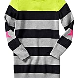 The pop of neon, the star elbow patches, the bold stripes — there's so much to love about this sweater dress ($35, originally $40).