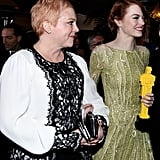Emma Stone and her mom, Krista, arrived together at the Governors Ball after the Oscars.