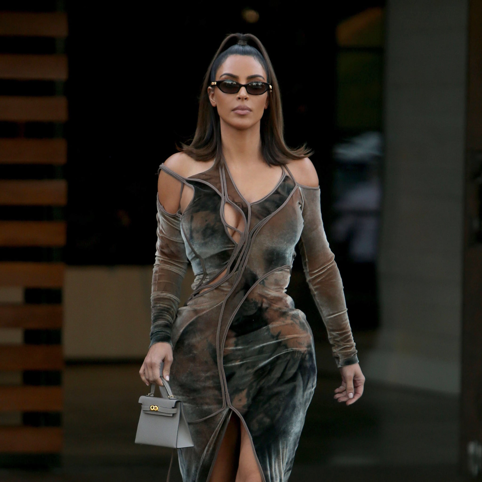 Kim Kardashian S Velvet Cutout Dress Instagram 2019 Popsugar Fashion