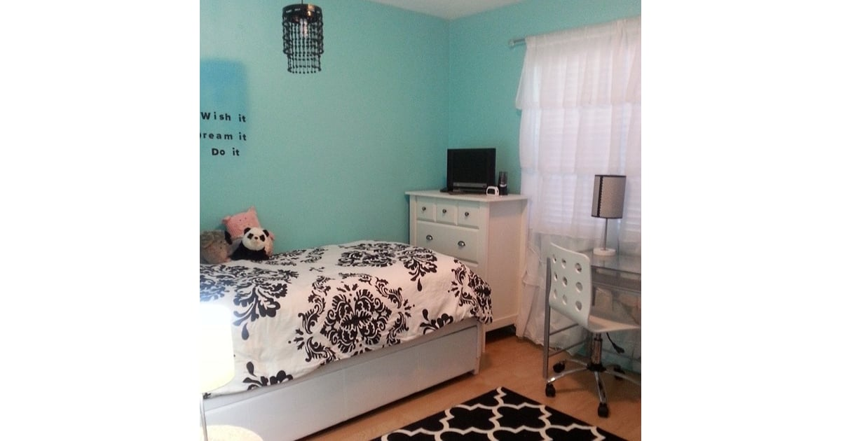 Black White And Teal All Over Teen Bedroom Inspiration