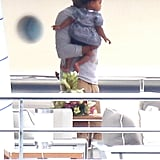 Jay-Z carried Blue while vacationing on a yacht.