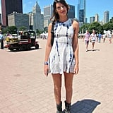 Melissa's fitted Akira dress was the perfect subtle nod to all the tie-dye seen at this year's festival. The figure-flattering silhouette also served as the perfect mashup to her more masculine Topshop boots.