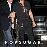 Johnny Depp got out of the car at Aerosmith's afterparty in LA.