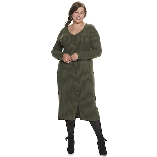 SO Long Sleeve Button Front Midi Dress