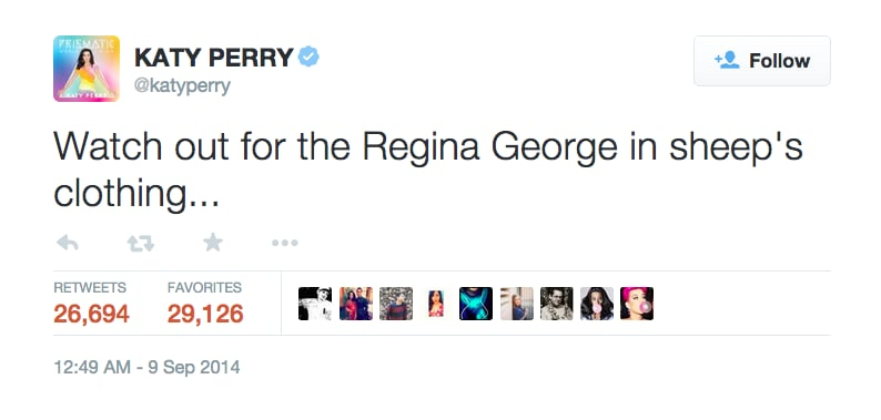 Sept. 9, 2014: Katy Perry's Enigmatic Clap Back