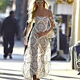 Candice Stunned in a Printed Off-the-Shoulder Maxi