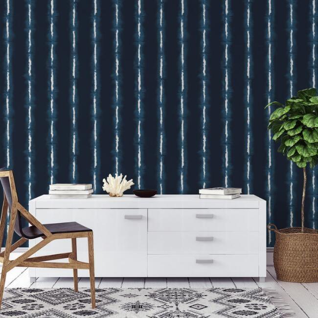 Indigo And White Shibori Stripes Peel And Stick Wallpaper