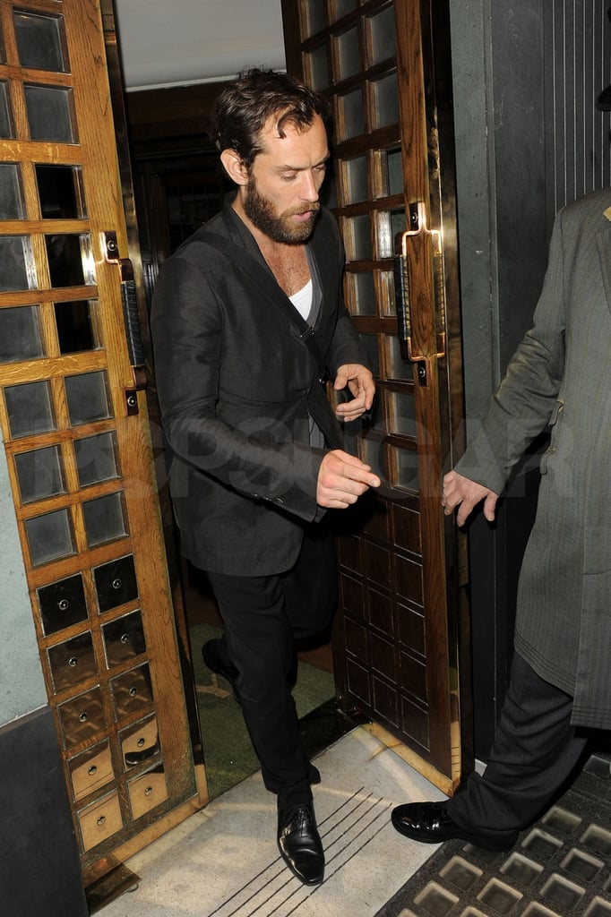 Jude Law left lunch at The Ivy.