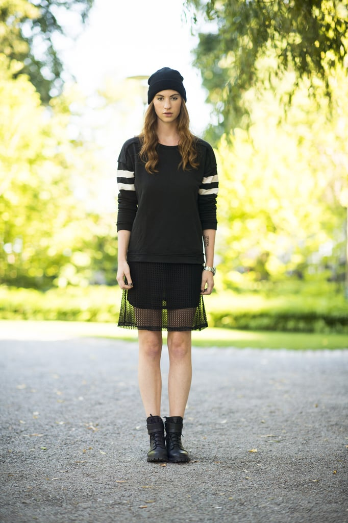 Sporty with a '90s flair — this girl topped her athletic tee with a beanie for a touch of nostalgia. Source: Le 21ème | Adam Katz Sinding