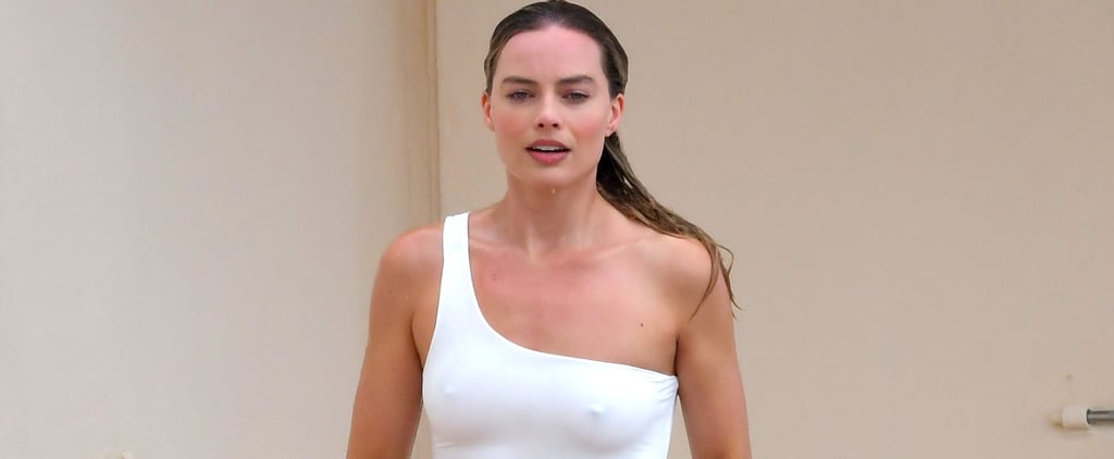 Margot Robbie White Swimsuit in Cannes 2019