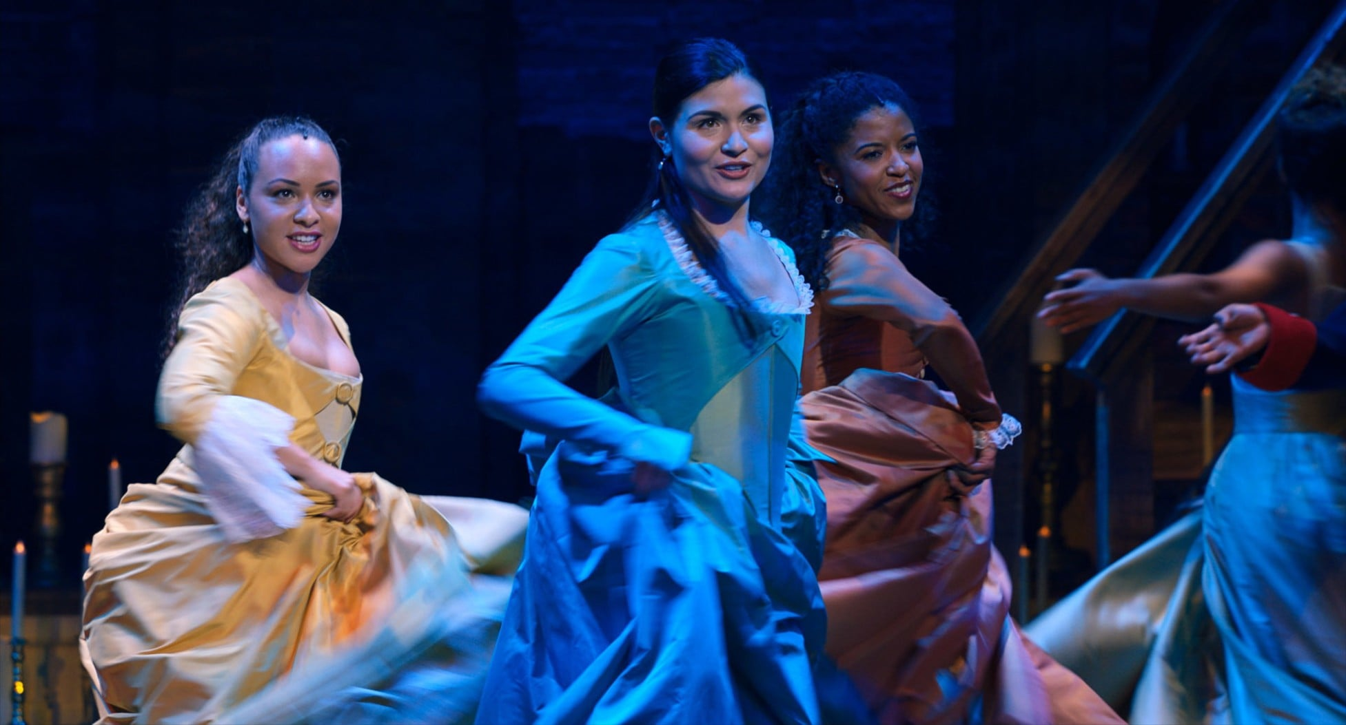 HAMILTON, from left: Jasmine Cephas Jones as Peggy Schuyler, Phillipa Soo as Eliza Hamilton, Renee Elise Goldsberry as Angelica Schuyler, 2020.  Disney+ / Courtesy Everett Collection