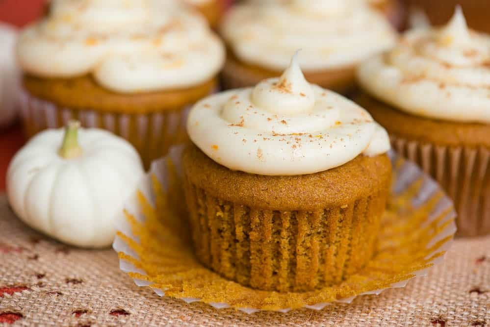 Pumpkin Cupcakes with Citrus Cream Cheese Frosting