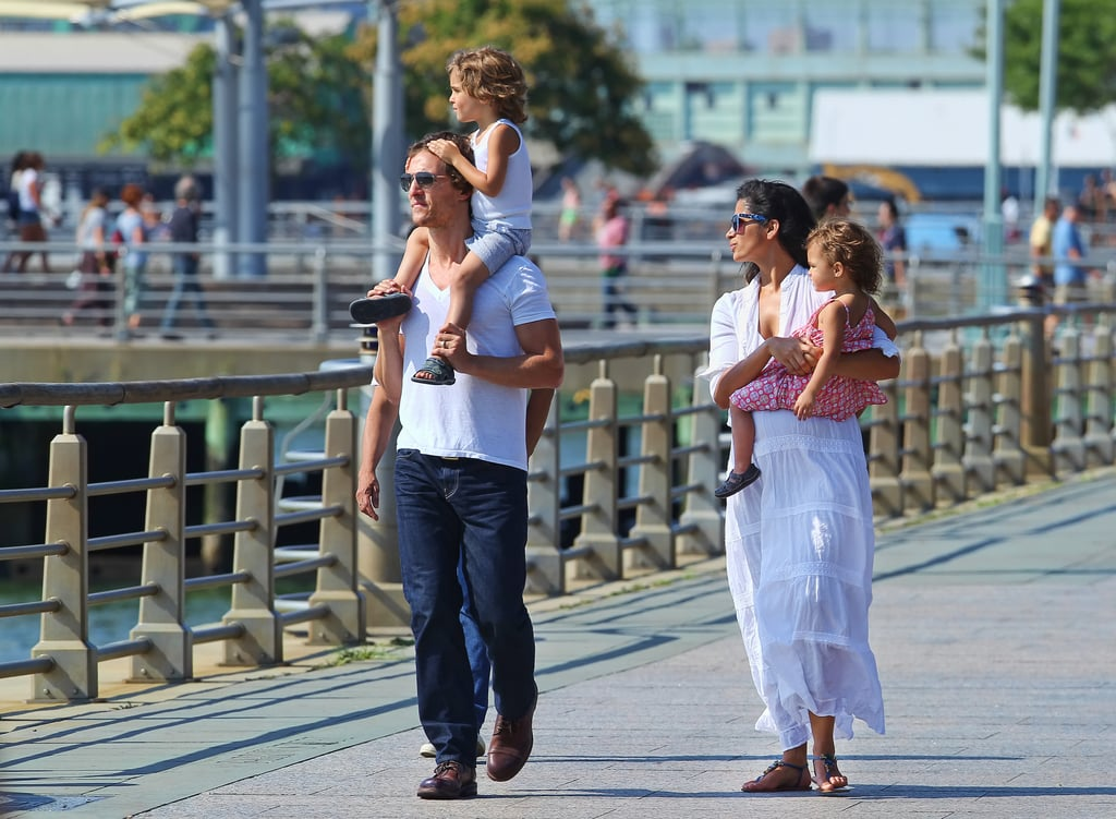 Matthew McConaughey walked in NYC with his pregnant wife Camila Alves and their kids, Levi and Vida.