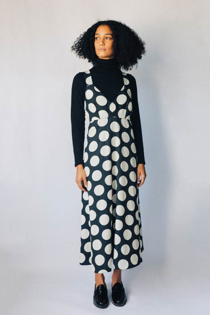 Hope For Flowers Black and Parchment Dots Slip Dress
