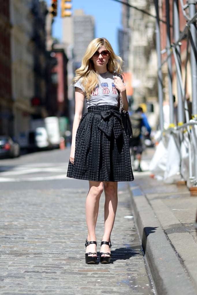 Balance out a flirty skirt with a cool-girl tee for an unexpectedly sweet style. Source: Le 21ème | Adam Katz Sinding