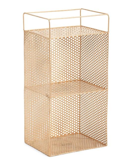 Double Tier Metal Cutout Shelf Storage