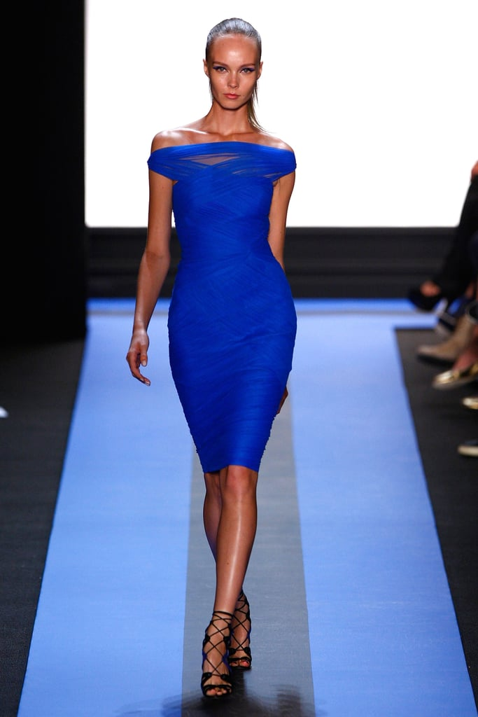Monique Lhuillier's color-injected collection gave way to this hip-hugging dress in brilliant blue.