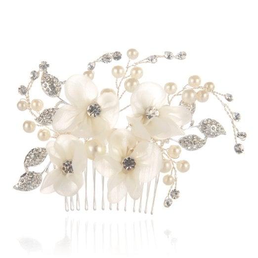Remedios Bridal Flower Side Hair Comb Wedding Accessory Rhinestone Headpiece ($15)