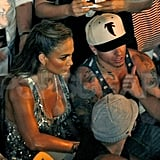 Jennifer Lopez and Casper Smart watched the footage back on a monitor.