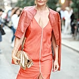 Helena Christensen even matched her lipstick to her coral-on-coral look.