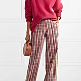 Diane von Furstenberg Grosgrain-Trimmed Checked Pants